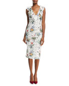 V-Neck Sleeveless Botanical-Print Lace Guipure Sheath Cocktail Dress