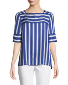 Short-Sleeve Cabana-Striped Silk Blouse