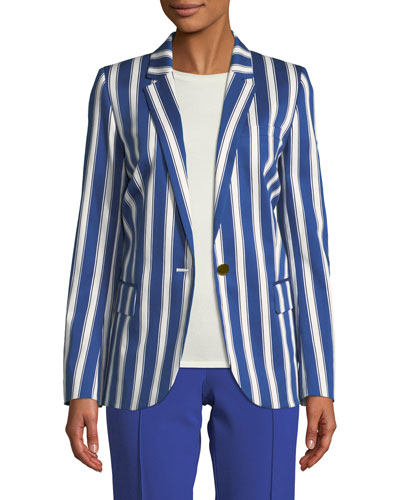 Cabana-Stripe One-Button Sateen Blazer