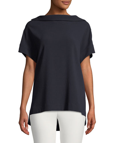 Short-Sleeve High-Neck Crepe Blouse