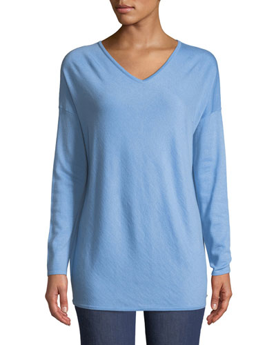V-Neck Long-Sleeve Cashmere Tunic