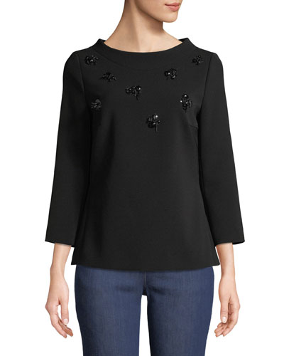 Eyelash-Embellished 3/4-Sleeve Crepe Top