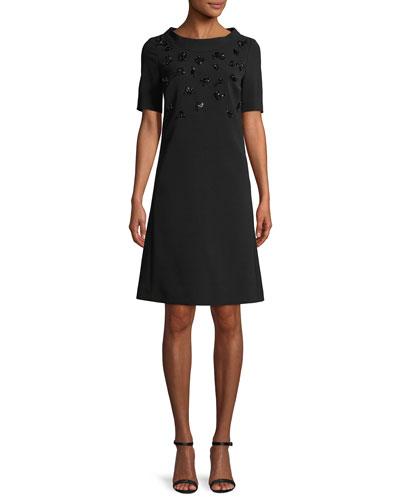 Round-Neck Short-Sleeve Embellished A-Line Crepe Dress