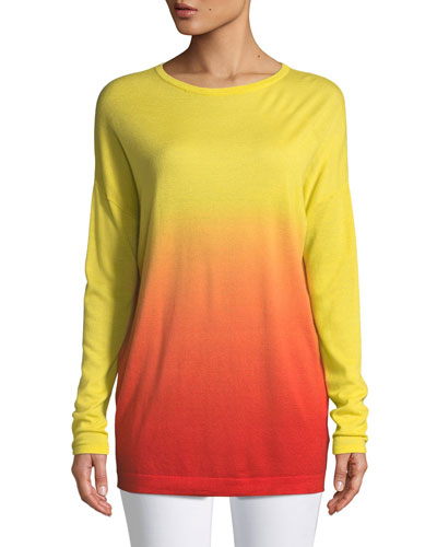 Crewneck Long-Sleeve Dégradé Cashmere Tunic