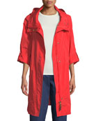 Zip-Front Roll-Sleeve Anorak Jacket w/ Removable Hood