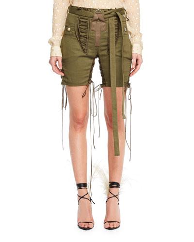 Mid-Thigh Drawstring-Sides Cotton-Linen Shorts W/ Lacing in Green
