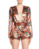 Deep-V Long-Sleeve Floral-Brocade Romper