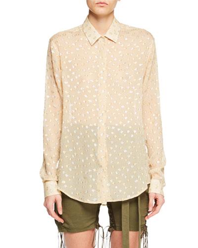 Long-Sleeve Button-Front Metallic-Dot Silk Shirt