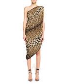 One-Shoulder Asymmetric-Hem Leopard-Print Silk Dress