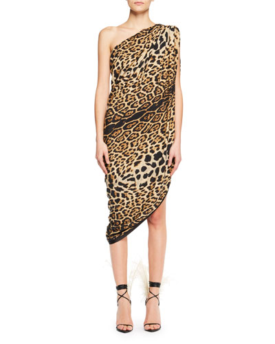 One-Shoulder Asymmetric-Hem Leopard-Print Silk Dress