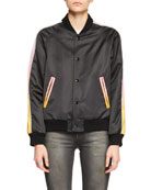 Snap-Front Bomber Jacker with Panther Graphic