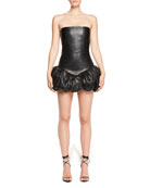 Strapless Body-con Leather Dress with Bubble Hem