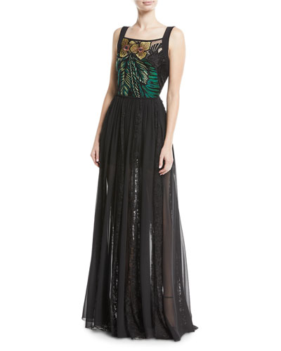 Sleeveless Floral-Embroidered Bodice Chiffon Lace Skirt Evening Gown