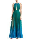 Plunging Sleeveless Pleated Dégradé Evening Gown