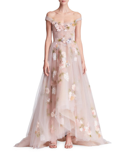 Off-the-Shoulder Corset-Bodice 3-D Organza Evening Gown with Paillette Flowers