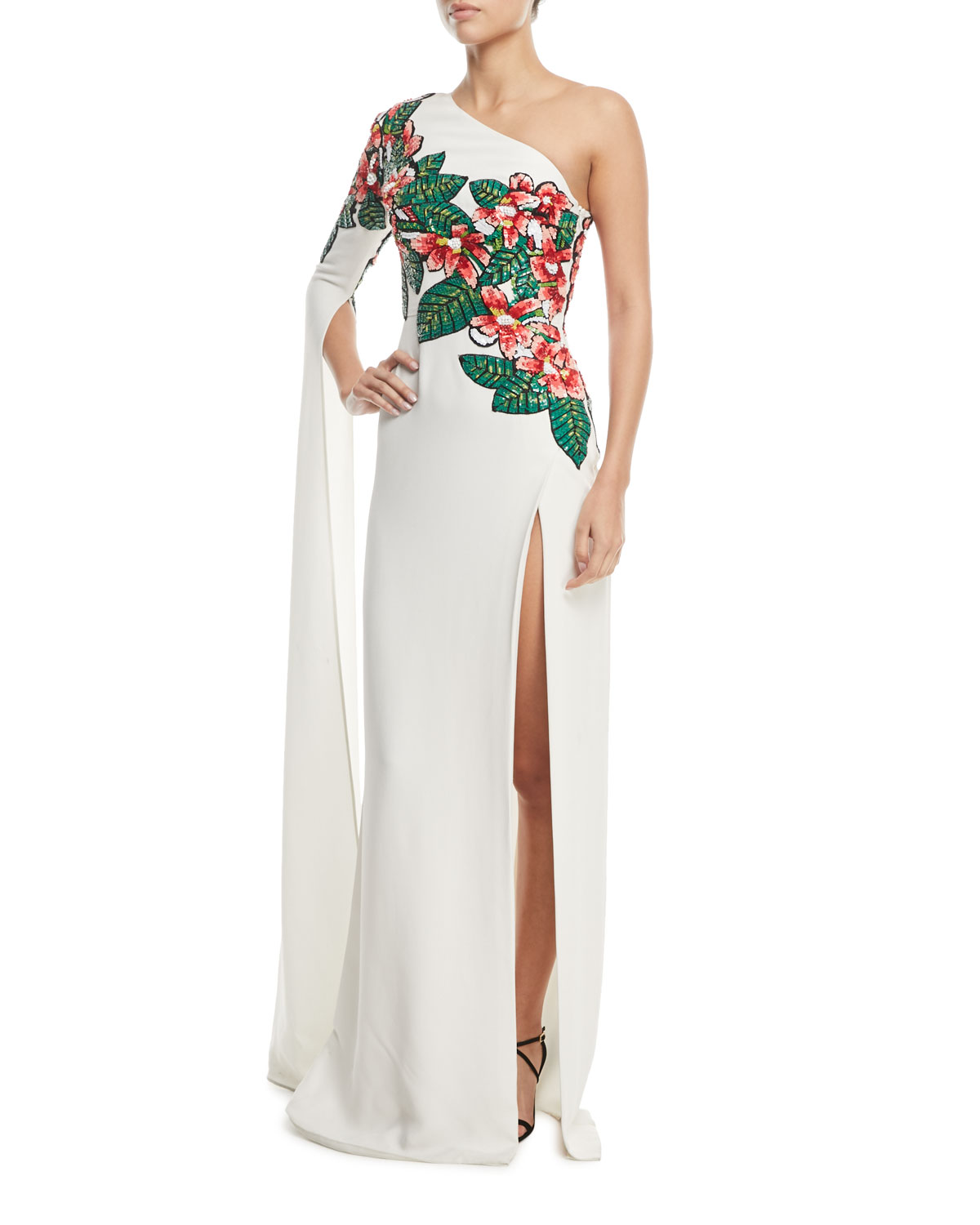 One-Shoulder Floral Bead-Embroidered Asymmetrical Evening Gown