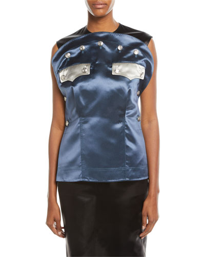 Sleeveless Bicolor Satin Blouse with Policeman Patch