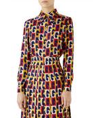 G-Sequence Long-Sleeve Button-Down Silk Shirt
