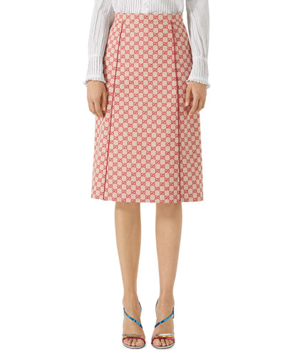GG Canvas Skirt with Leather Piping