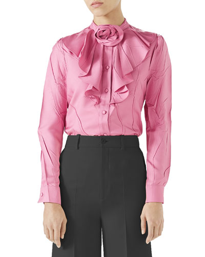 3a89e747af0060 Quick Look. Gucci · Silk Twill Button-Front Ruffle Shirt ...