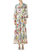 Long-Sleeve Floral-Print Silk Pleated Maxi Dress
