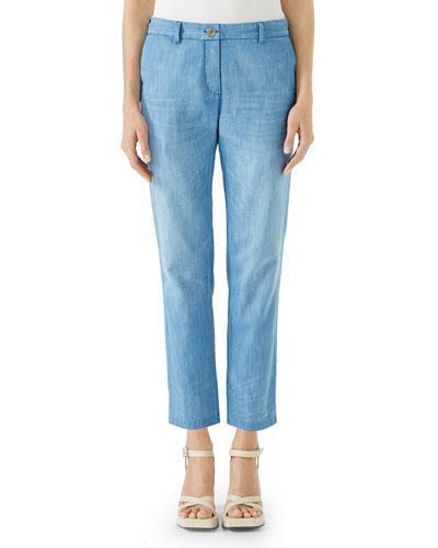 Stone-Bleached Straight-Leg Denim Chino Pants
