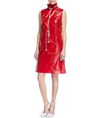 Sleeveless Stand-Neck Drawstring Dress w/ Pockets