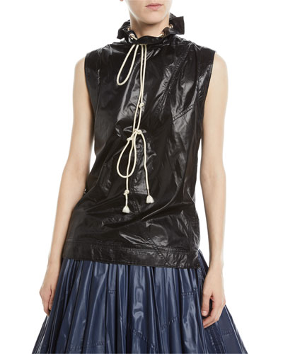 Sleeveless Drawstring Stand-Neck Nylon Top