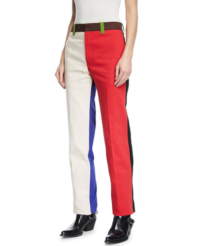 Colorblock Straight-Leg Cotton Pants