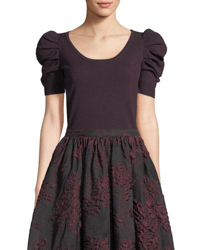 Pouf-Sleeve Scoop-Neck Merino Wool Pullover Sweater