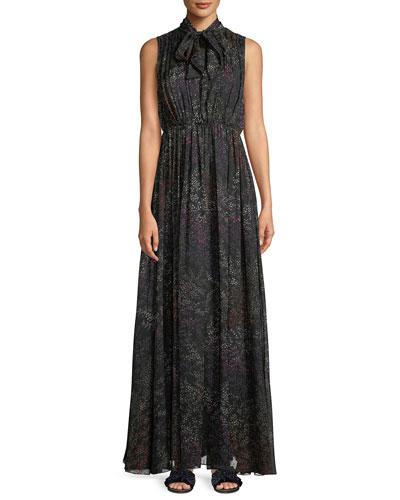 c5e5b0f9e6 Quick Look. Co · Tie-Neck Sleeveless Floral-Print Silk Chiffon Evening Gown