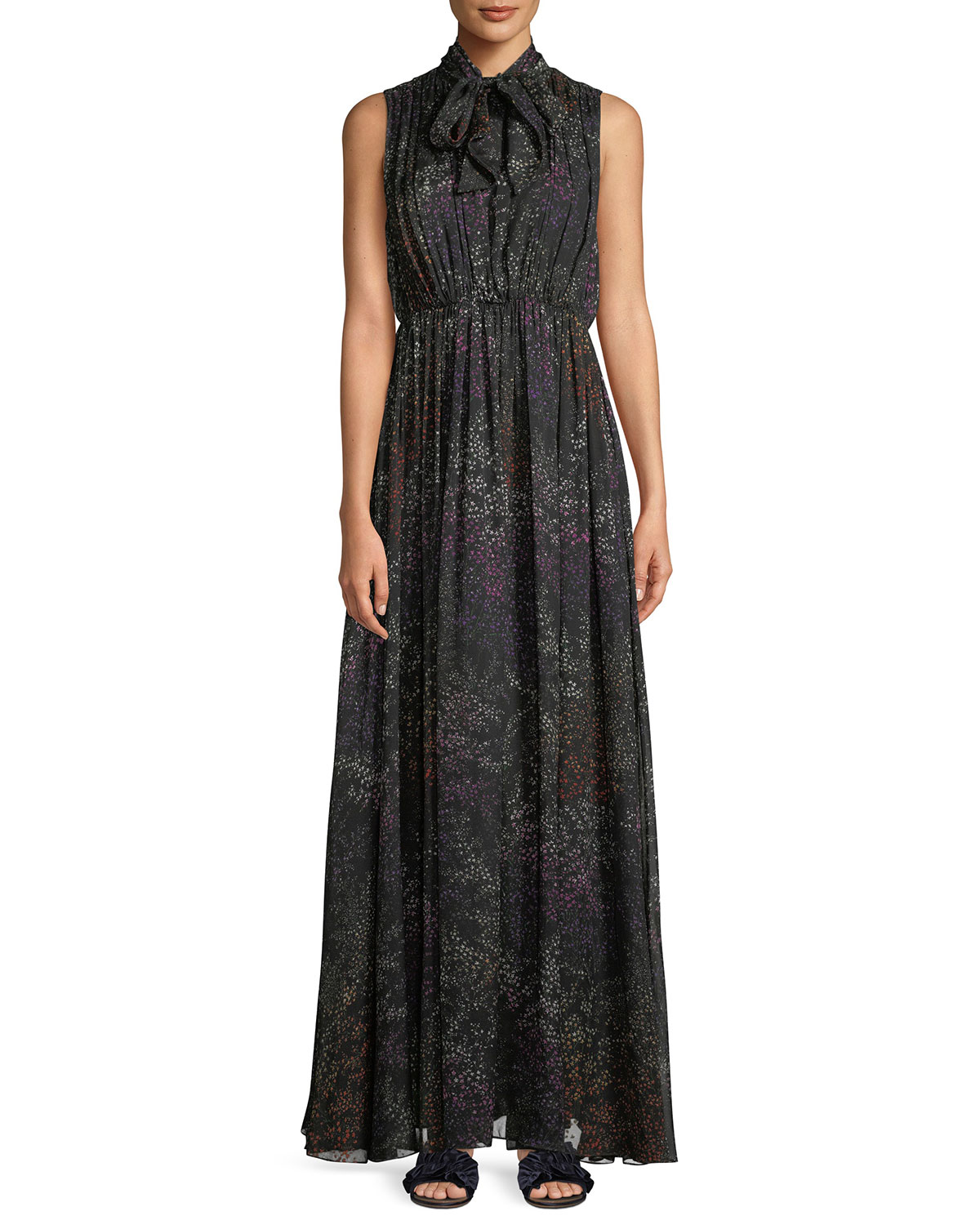 Tie-Neck Sleeveless Floral-Print Silk Chiffon Evening Gown, Black Pattern
