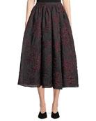 Co Floral-Jacquard A-Line Midi Skirt