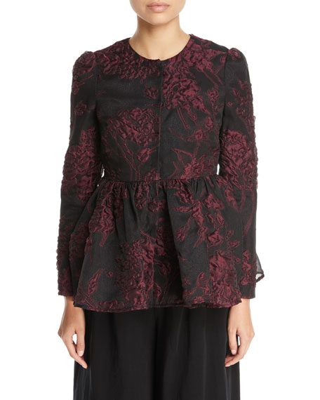 Co Floral-Jacquard Collarless Peplum Jacket