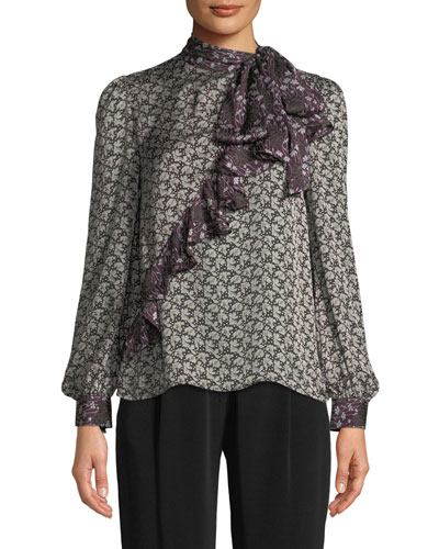 Tie-Neck Asymmetric Ruffle Floral-Print Crepe Silk Blouse