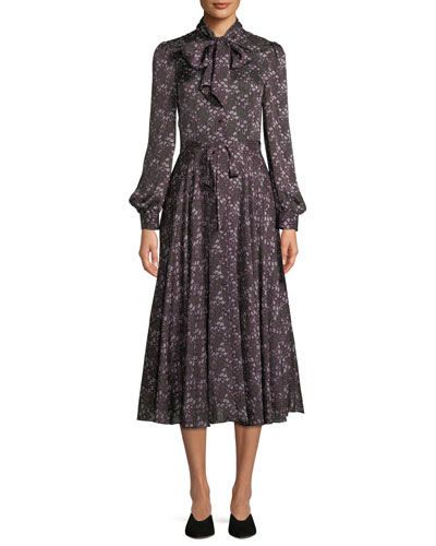 Tie-Collar Long-Sleeve Silk Midi Dress