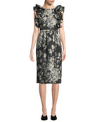 Co Ruffled Sleeveless Metallic Floral-Brocade Cocktail Dress w/