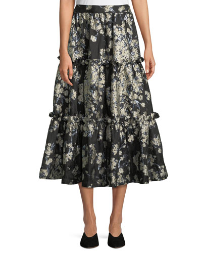 Metallic Floral-Brocade Tiered Evening Skirt