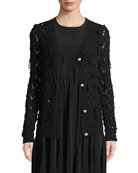 Co Bead-Embellished Hand-Knit Crochet Wool-Cashmere Cardigan and