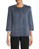 Collarless 3/4-Sleeve Mink Jacket