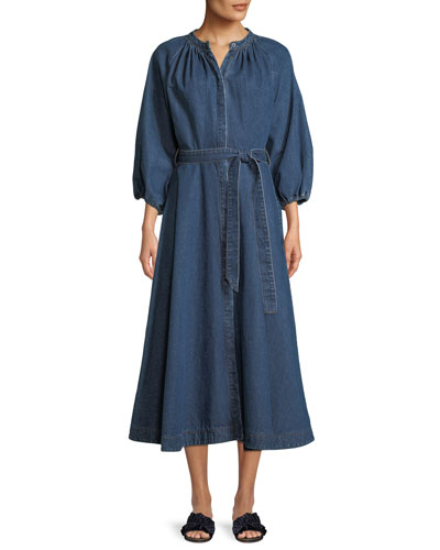 Pouf-Sleeve Self-Tie Denim Long Dress
