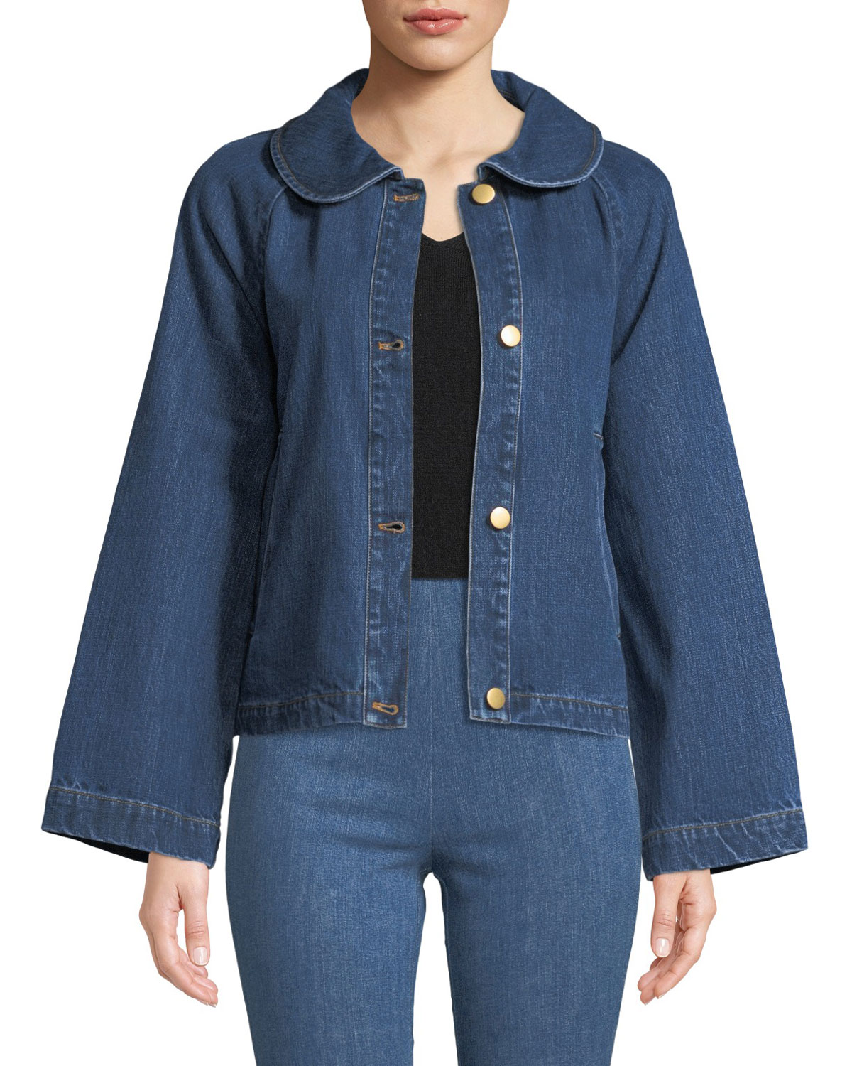 Peter Pan Collar Button-Front A-Line Denim Jacket in Blue