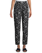 Stovepipe Floral-Print Straight-Leg Gabardine Pants