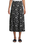 Co Floral-Print Gabardine Box-Pleat Midi Skirt