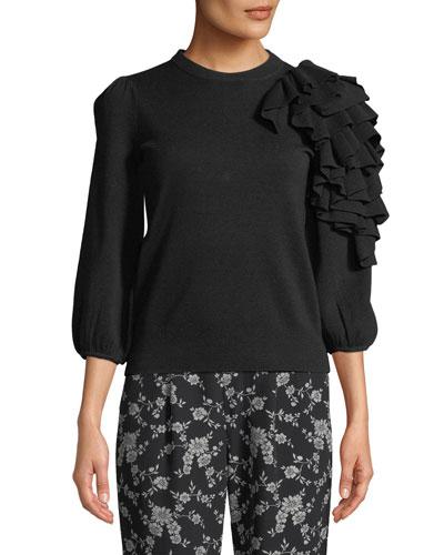 Exaggerated Ruffle  3/4-Sleeve Merino Wool Sweater