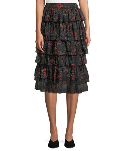 Tiered Floral-Print Silk Chiffon Skirt
