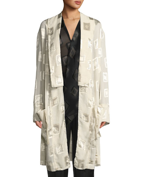 Urban Zen Block-Print Devore Belted Coat