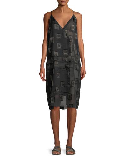 V-Neck Block-Print Devoré Shift Dress
