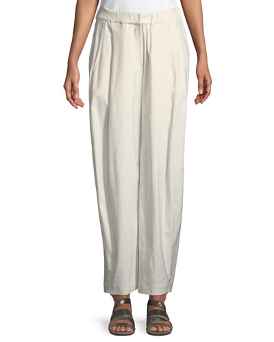 Sculpted Wide-Leg Linen-Blend Trousers