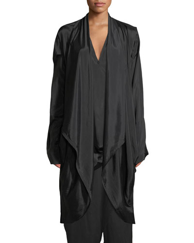 Draped Satin Parachute Coat
